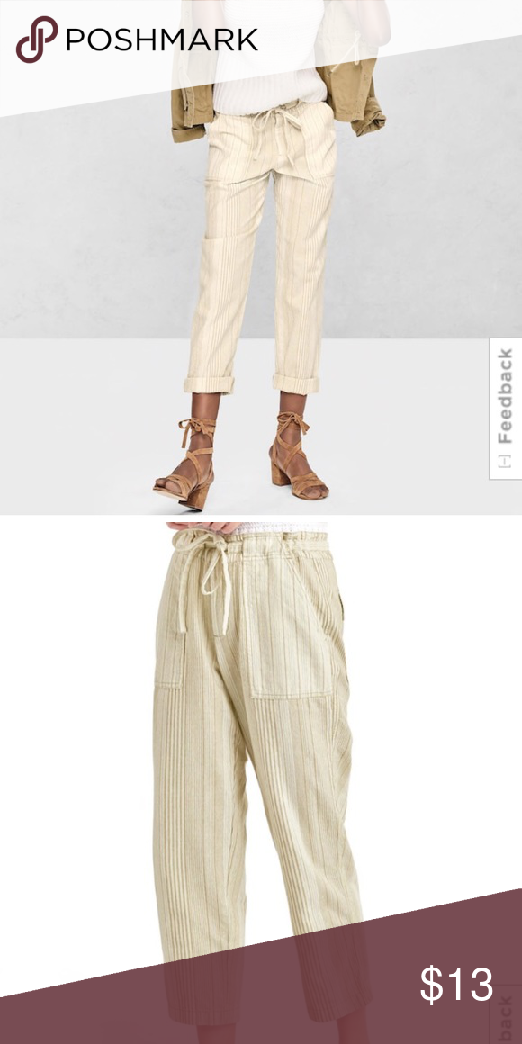 546ad18f0cc GAP Linen mix-stripe crop pants Smooth linen-cotton weave. Drawstring ties  at