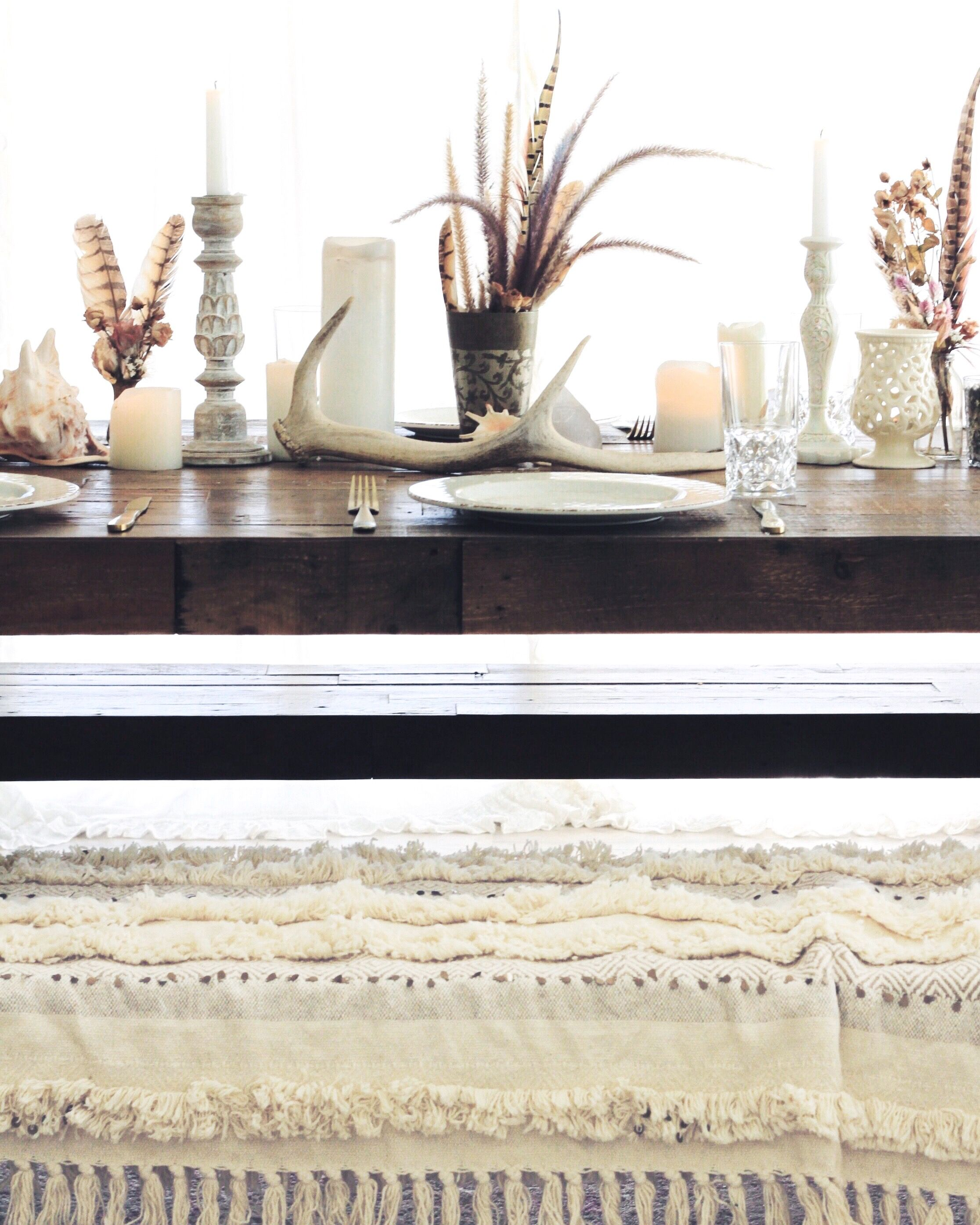 Rustic DIY dinner party with earthy beach theme, candle sticks ...