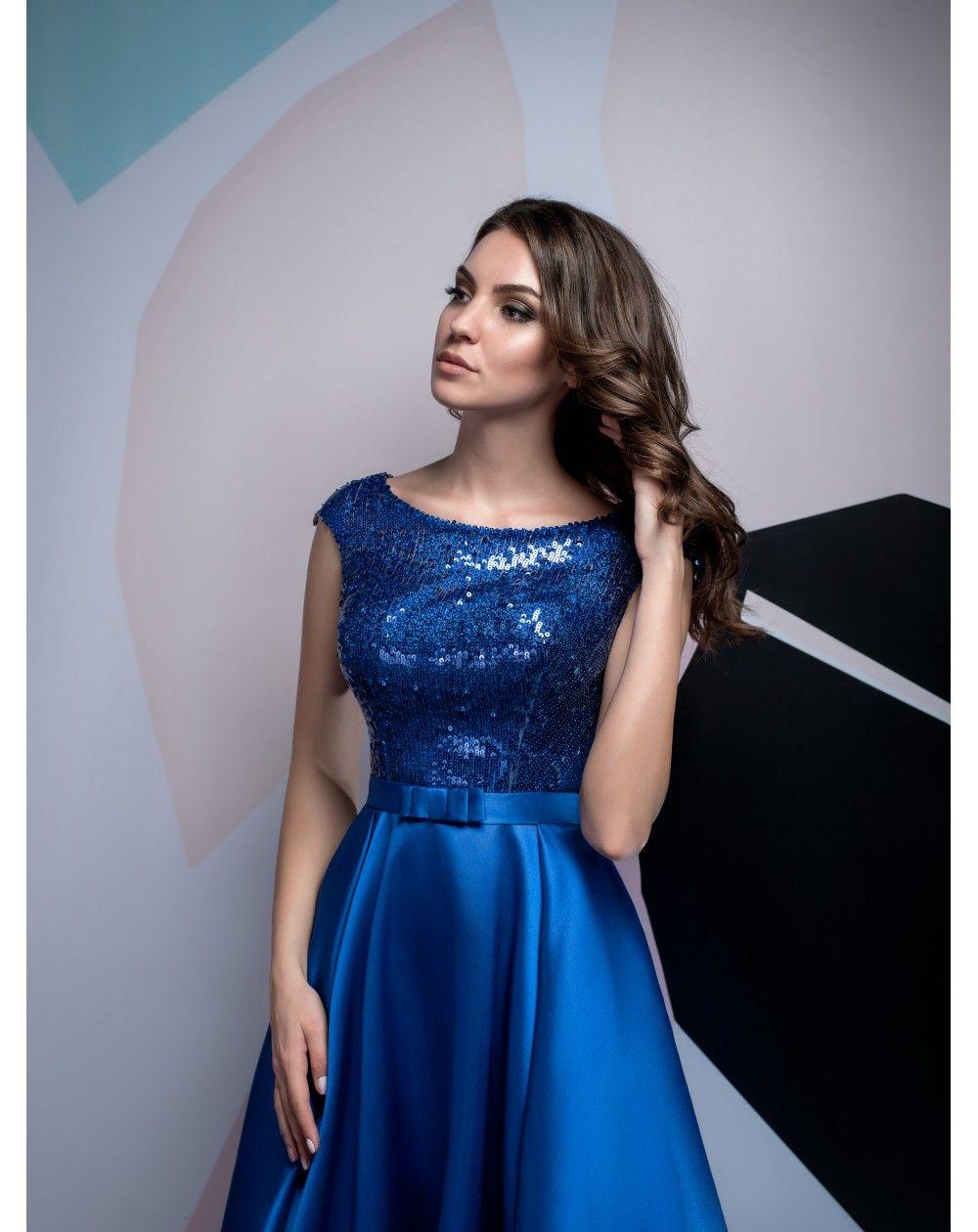 Dlhé luxusné saténové spoločenské šaty s flitrami Isabel vhodné na ples af9ba4dd4c7