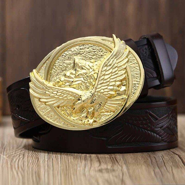Photo of Men genuine leather belts eagle pattern pin buckle straps re…