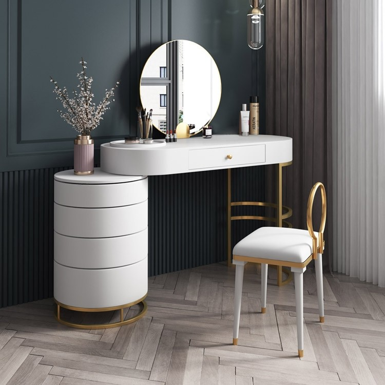 White Blue Pink Makeup Vanity Dressing Table With Swivel Cabinet Mirror Stool Included In 2020 Dressing Room Design Mirrored Bedroom Furniture Modern Dressing Table Designs