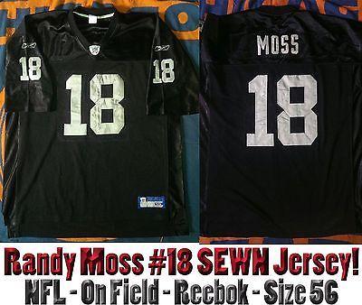 bc8eae7bad3 ... Size Large By Reebok Randy Moss 18 Oakland Raiders NFL On Field Reebok  Jersey Mens 56 SEWN LETTERS ...