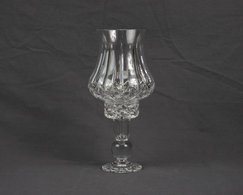 Photo of Vintage Hurricane Globe Block Candleholder Clear Crystal Candle Holder Heavy Gla…