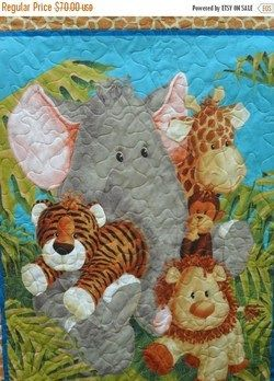 Baby Quilt Gender Neutral Jungle Animals by Quilts Just 4