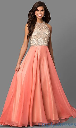 0fb04ebb648 Shop Dave and Johnny beaded bodice long coral dresses at SimplyDresses.  Long sleeveless prom dresses with high necks and open backs for prom.
