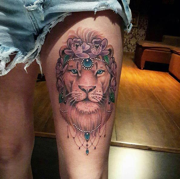 50 lion tattoos that are 100 percent epic thighs lions for Lion tattoos for females