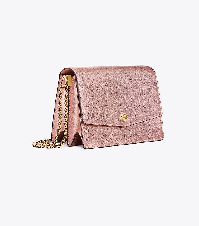 639b8284e2d Tory Burch Robinson Metallic Convertible Shoulder Bag - Light Rose Gold