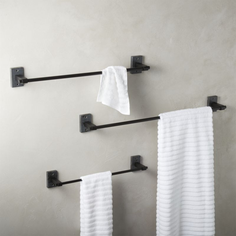 Shop Granite Towel Bars Honed Black Granite With Matte Black Metal Hardware Goes The Distance To Elevate Towels Pair Towel Bar Black Towels Modern Towel Bars