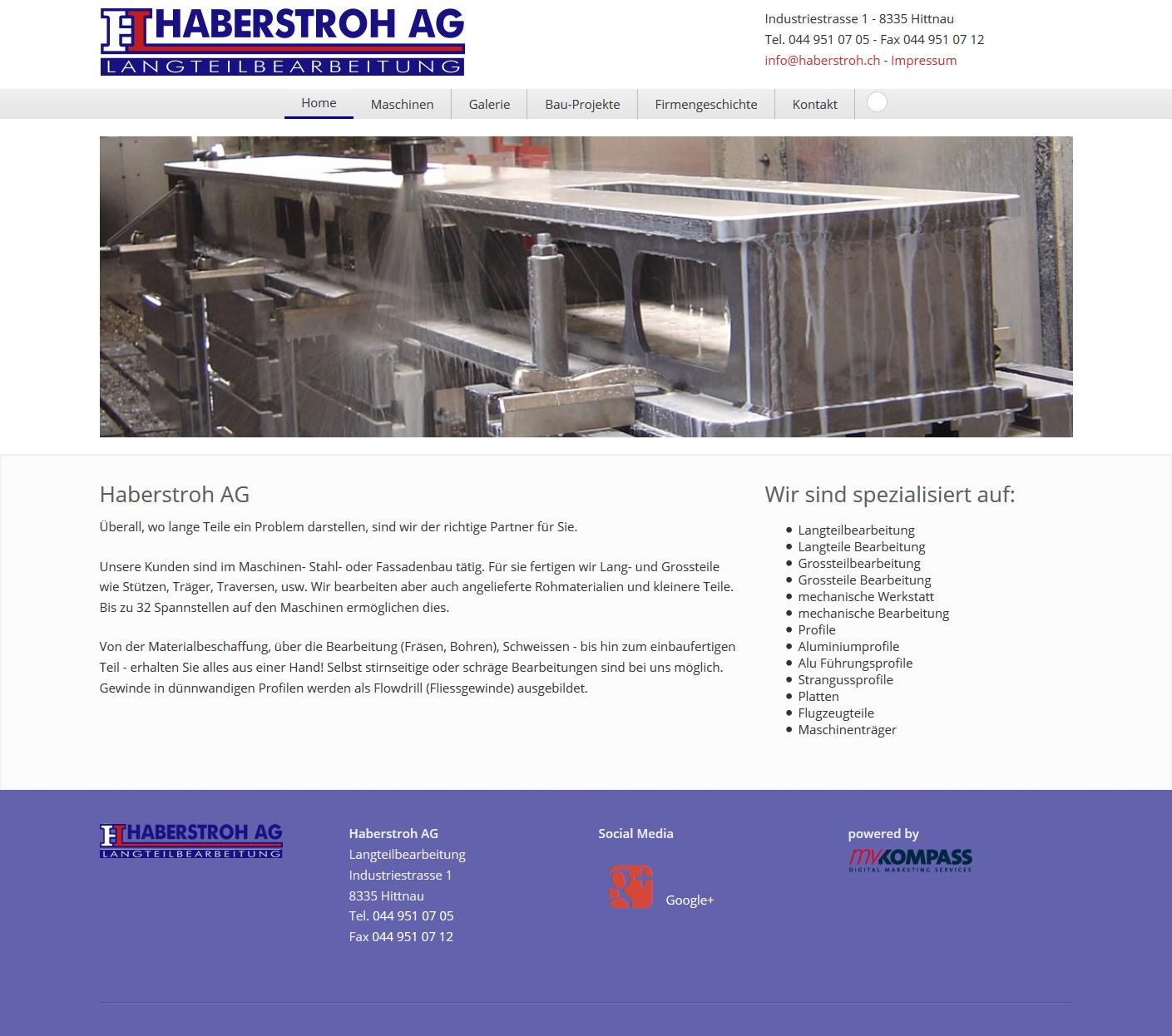 Haberstroh AG, Hittnau, Zürich, Langteilbearbeitung, Metall Werkstatt, Grossteil Bearbeitung