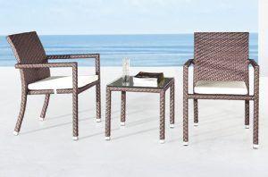 set kursi teras rotan sintetis desain minimalis yang mewah
