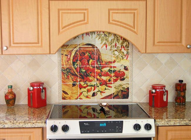 kitchen tile ideas for backsplash | chile pepper tiles - red