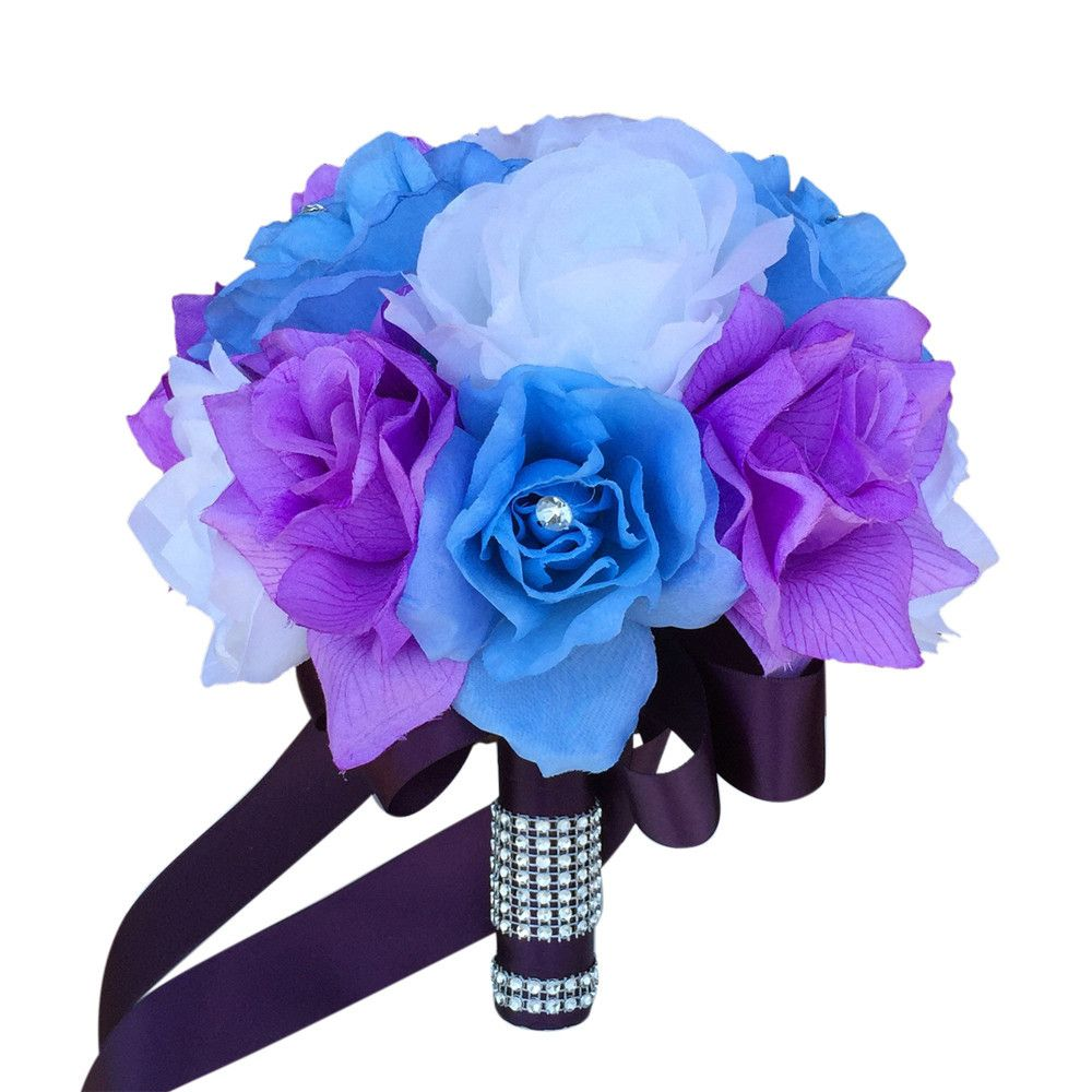 9 bouquet baby blue and lavender roses with plum ribbon 9 bouquet baby blue and lavender roses with plum ribbon izmirmasajfo