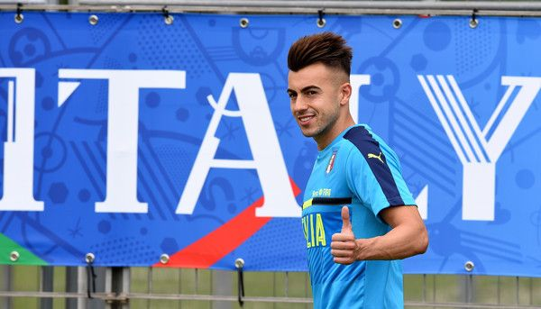 "Stephan El Shaarawy of  Italy  looks on during the training session at ""Bernard Gasset"" Training Center on June 10, 2016 in Montpellier, France."
