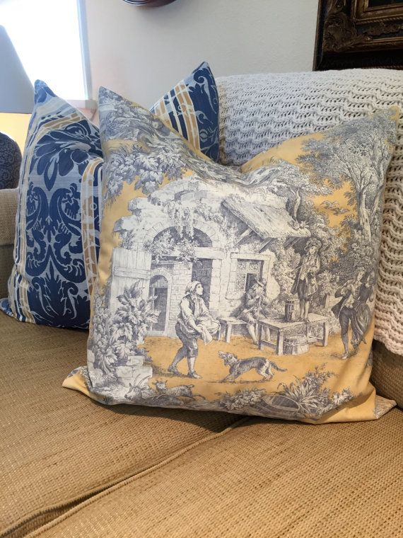 Toile Pillow Blue And Yellow Pillow Toile And Stripe Jaquard Blue Unique Joann Fabric Pillow Inserts