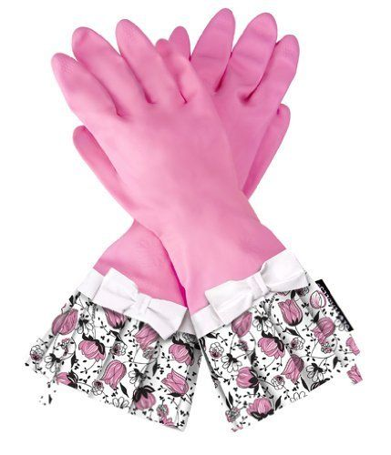 Gloveables® Pink Gloves with Pink Tulips by Grandway Honduras. $13.99. Gloveables® waterproof gloves are unlike any ordinary kitchen glove you've ever tried. The perfect way to protect your hands while still being fashionable and comfortable. Gloveables® brand gloves are ideal for cleaning, dish washing,gardening, and anything else that could spoil your manicure. Protects hands from hot water, chemicals and dirt. Ruffled fringe adds extra protection from splashes. Long lasting...