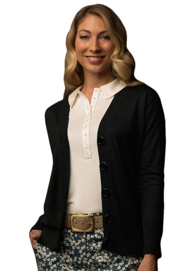 Lizzie Driver Black Swan Cardigan Sweater in Black | #Golf4Her #GolfClothes #Fall