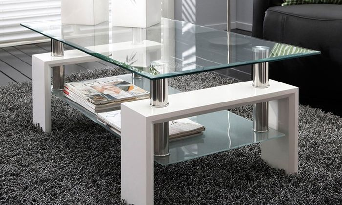 Glass · Groupon Goods Global GmbH: Rectangular Glass Coffee Table ...