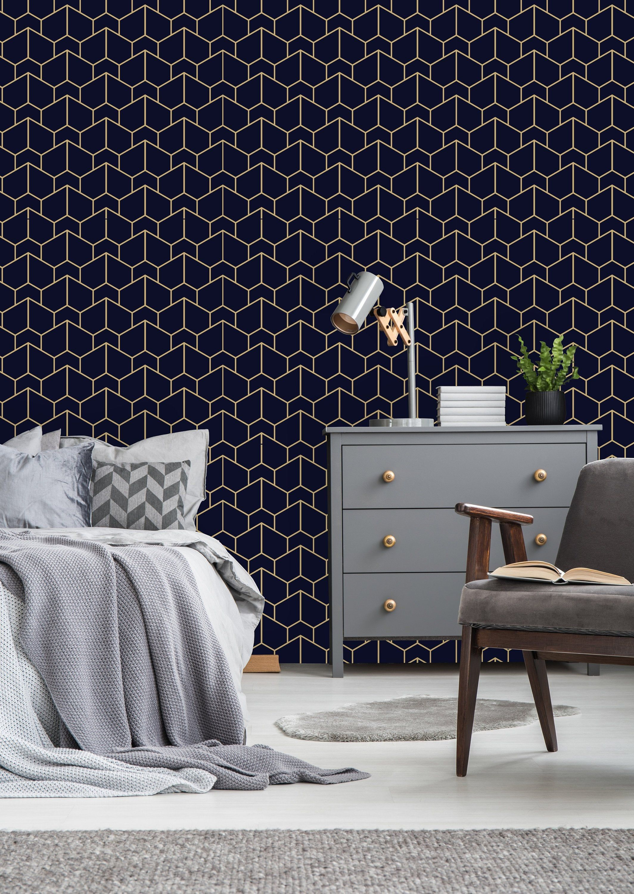 Blue Black and Gold Texture Removable WallpaperPeel and