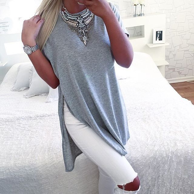 @isabellefribeerg wears our GILLIAN side slit top £8 free delivery. SHOP HERE: http://www.wearall.com/gillian-short-sleeve-side-slit-top