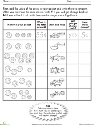 Coin Challenge What S The Change Worksheet Education Com Money Math Money Worksheets Teaching Math