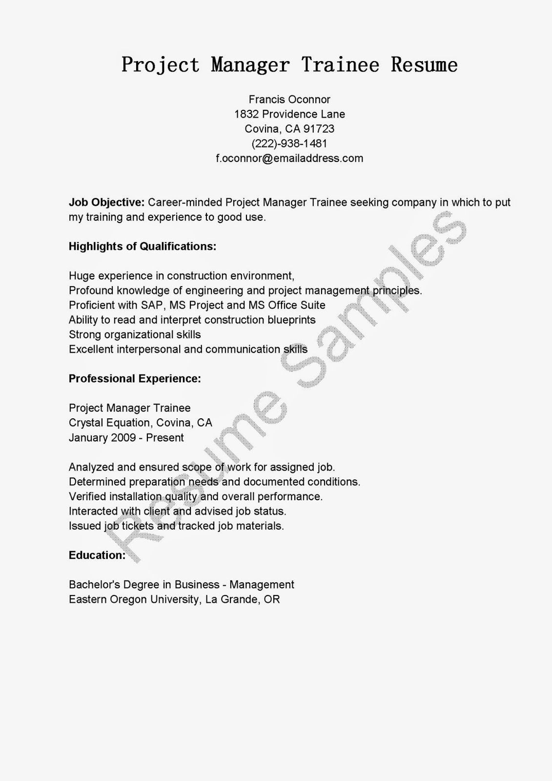 Project Manager Trainee Resume Sample Resume Samples