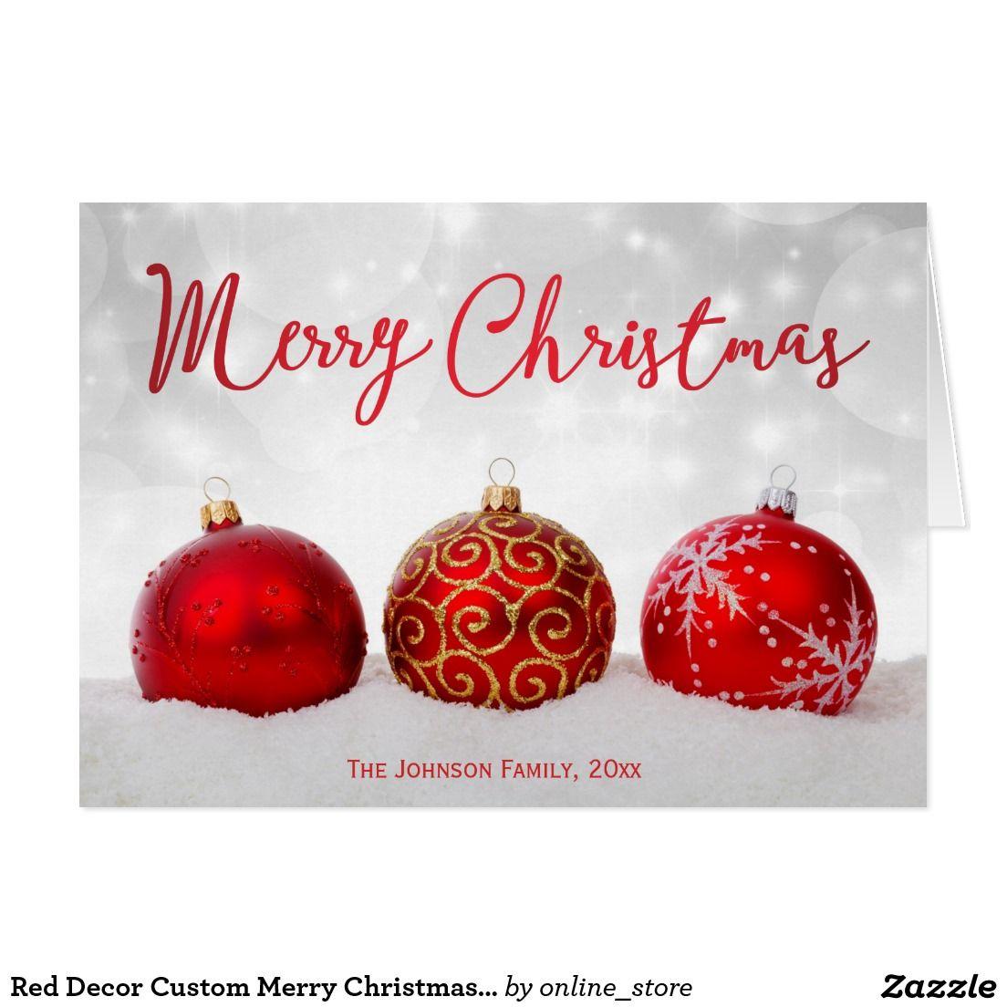Red Decor Custom Merry Christmas Greeting Cards