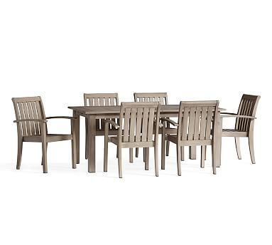 Chatham Butterfly Extension Table Amp Arm Chair Dining Set Gray Potterybarn Outdoor Dining Furniture Patio Dining Furniture Dining Furniture