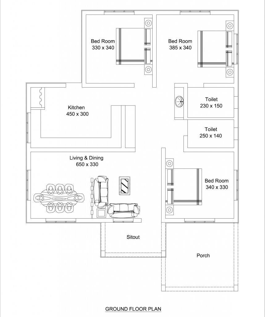Beautiful Low Cost 3 Bedroom Home Plan in 1309 SqFt | Free ...