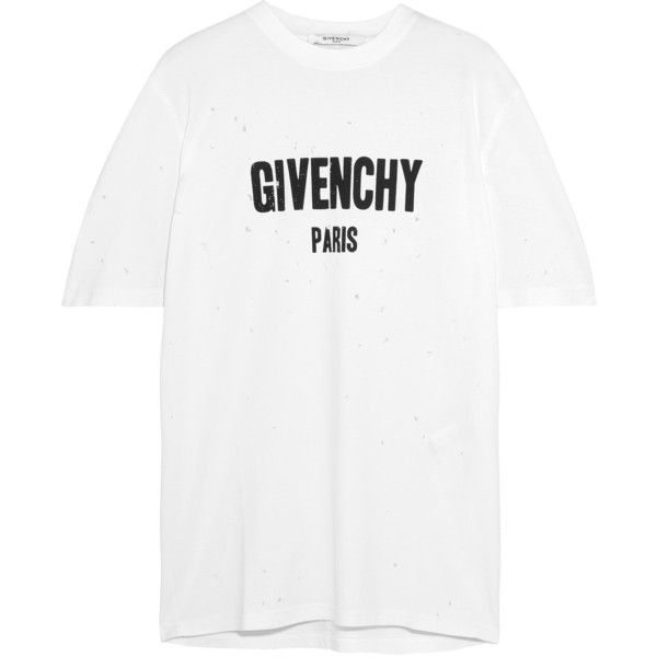Givenchy Distressed Printed Cotton Jersey T Shirt 615 Liked On Polyvore Featuring Tops T Shirts Givenchy Shirts Cotton White Loose White Shirt Overs