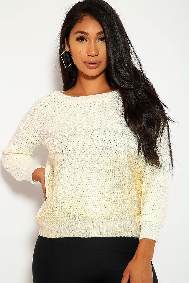 066a7fbed7 Sexy Ivory Gold Long Sleeve Knitted Casual Sweater Sweater Outfits,  Clubwear, Sexy Dresses,