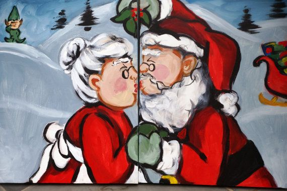 Santa Kissing Mrs Claus Christmas Painting By