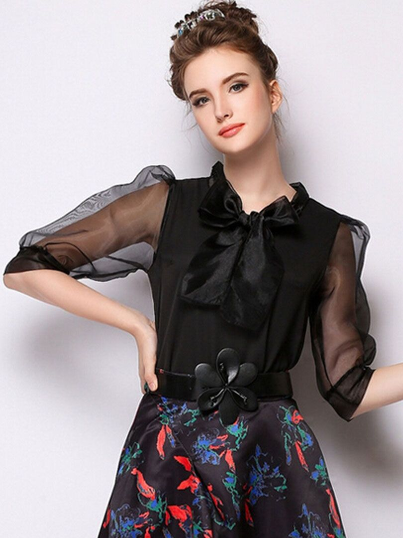 03fe2496b6259 Black Panel Sheer Puff Sleeve Front Bowknot Blouse