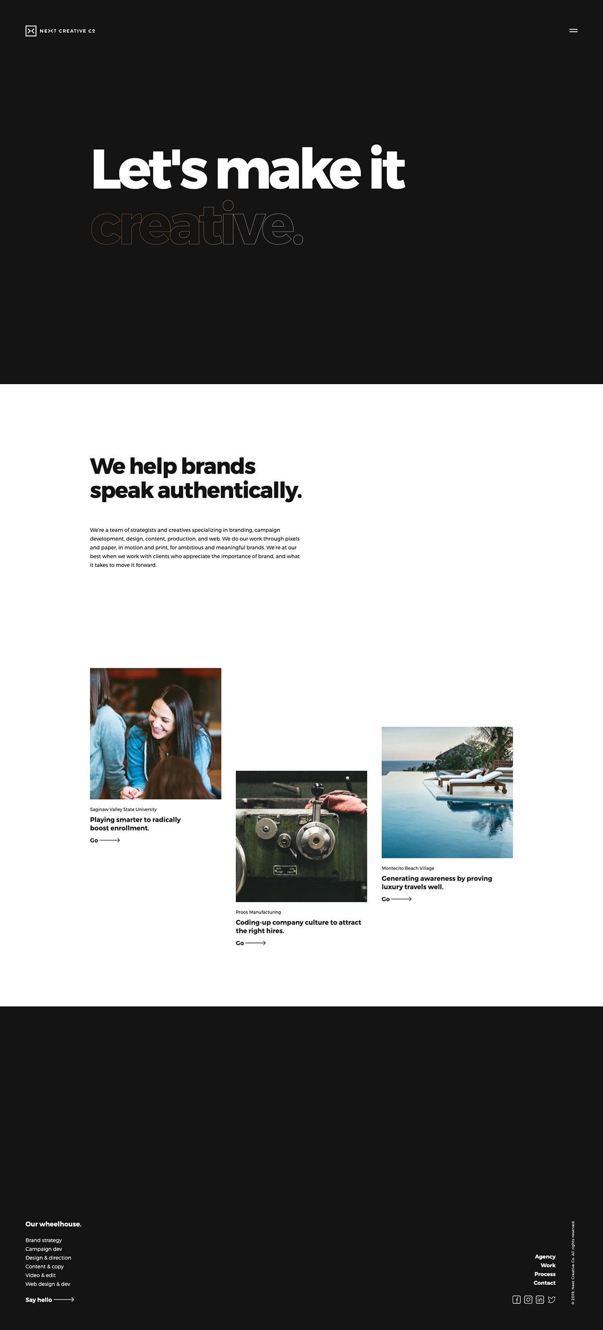 Site Of The Day Next Creative Co Https Mindsparklemag Com Website Next Creative Co By Next Creat Web Design Quotes Creative Web Design Web Design Websites