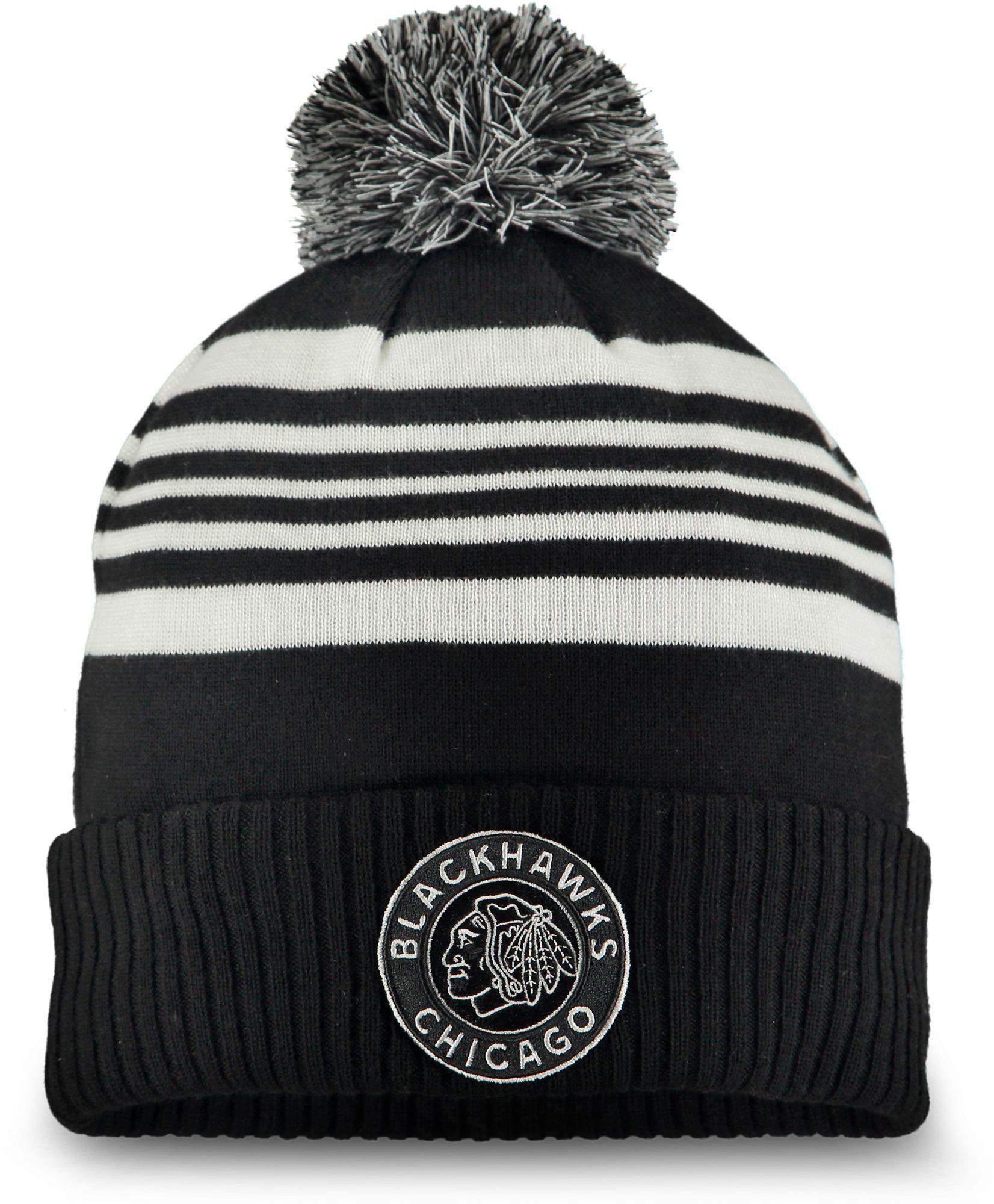 af8577576 NHL Men s 2019 Winter Classic Chicago Blackhawks Black Pom Knit Beanie  Chicago Blackhawks