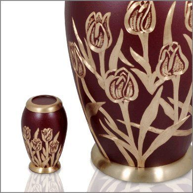 Small Decorative Urns Cremation Brass Urn Small Keepsake Maroon With Tulips * Be Sure To