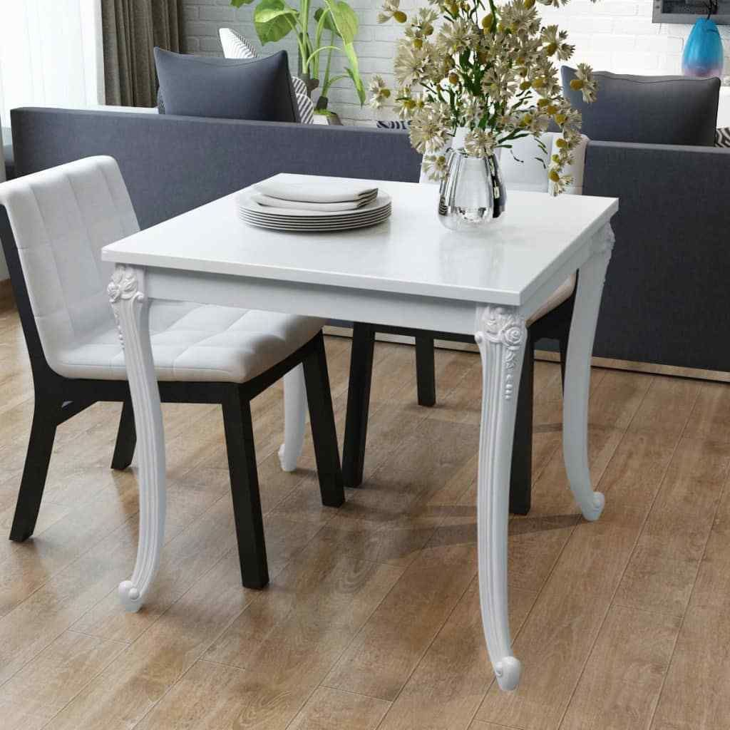 French Style Dining Table High Gloss White 80x80x76 Cm Dining