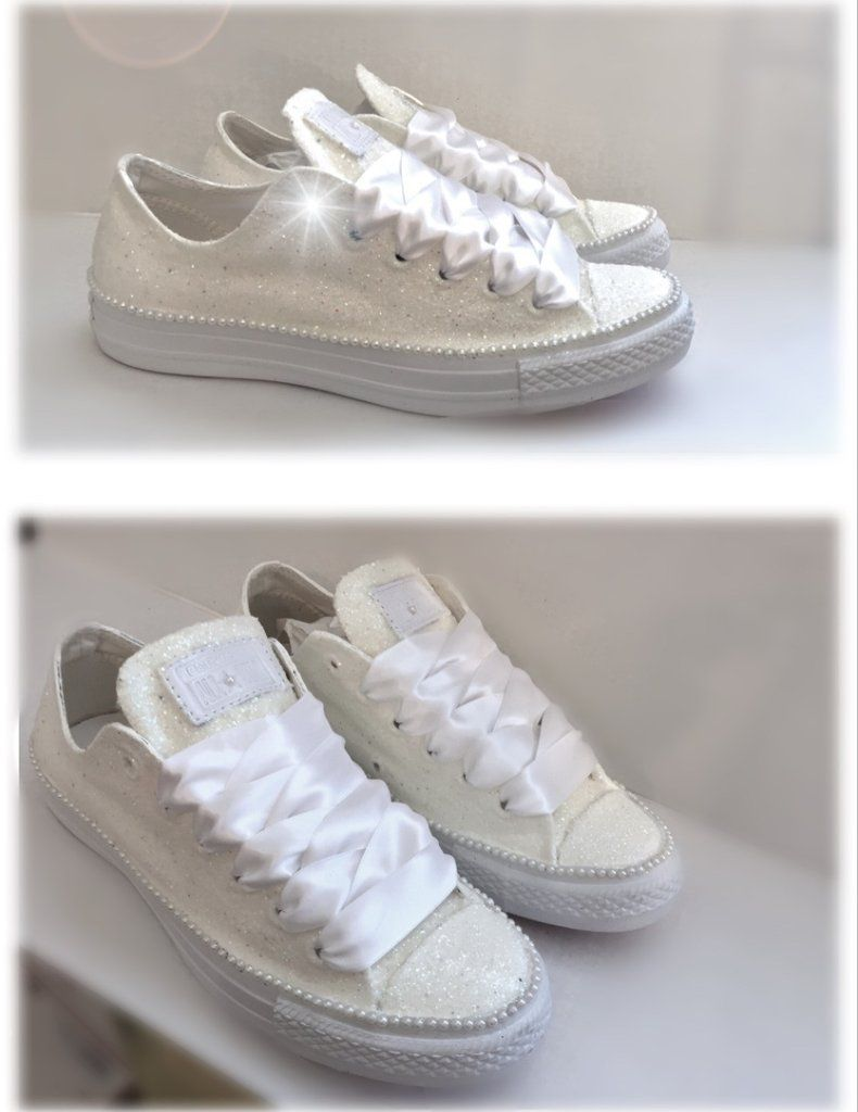Women's Sparkly White or Ivory Glitter Converse All Stars pearls Bride Wedding shoes #whiteallstars