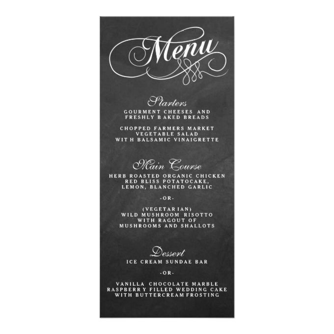 Elegant Chalkboard Wedding Menu Templates Custom Rack Cards