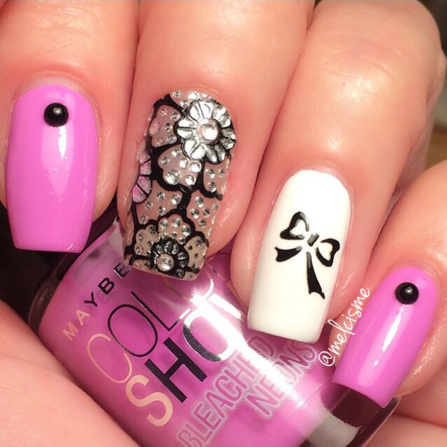 Quick mani. Girly nails. Ultra violet by maybelline & kiss nail wrap ...