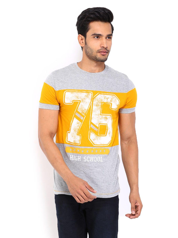 5fd31417d386 Buy Celio Men Grey Melange & Mustard Yellow Printed T Shirt - 2 - Apparel  for Men - 407729