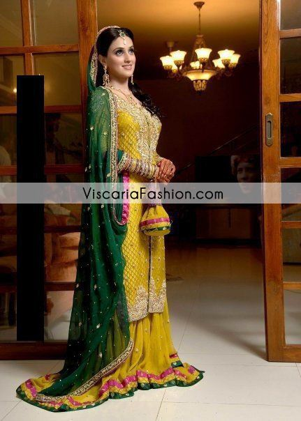 Yellow Bottle Green Bridal Mehndi Wear Sharara