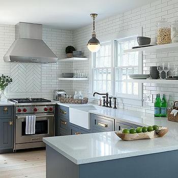 Blue Kitchen Cabinets with Vintage Brass Latch Hardware ...