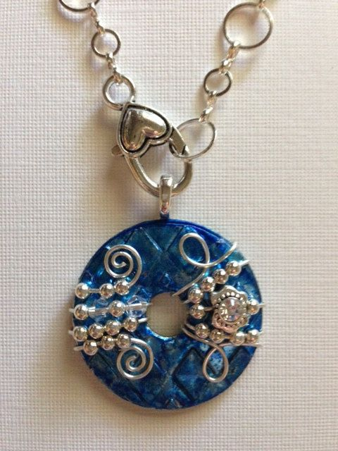 Beautiful unique blue washer pendant with optional by kspeddlers beautiful unique blue washer pendant with optional by kspeddlers aloadofball Choice Image