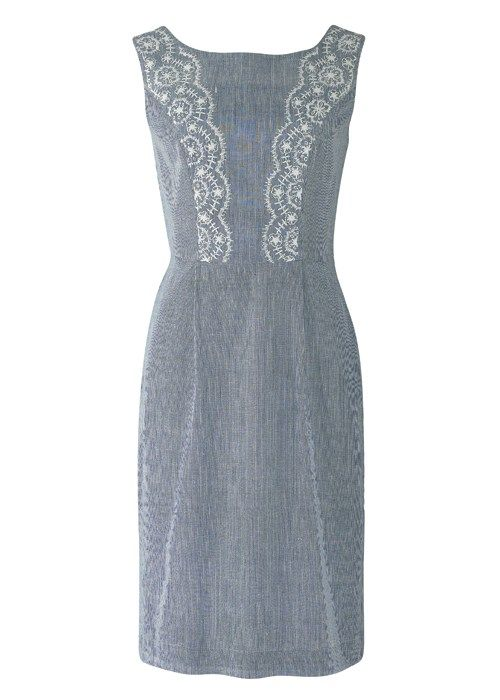 Dresses - Kara Embroidered Fitted Dress We love this vintage style shift dress in hand woven chambray with delicate embroidery. £80