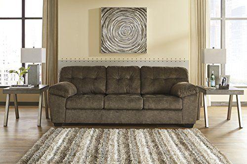 Accrington Contemporary Earth Color Padded Microfiber Sofa