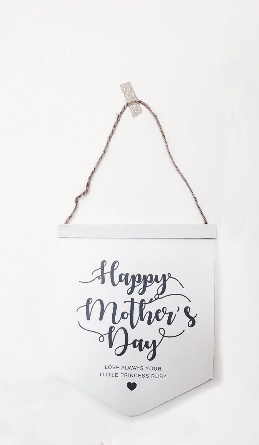Mother's Day Typography Wall Hanger with personalised message by cherishwithlove on Etsy