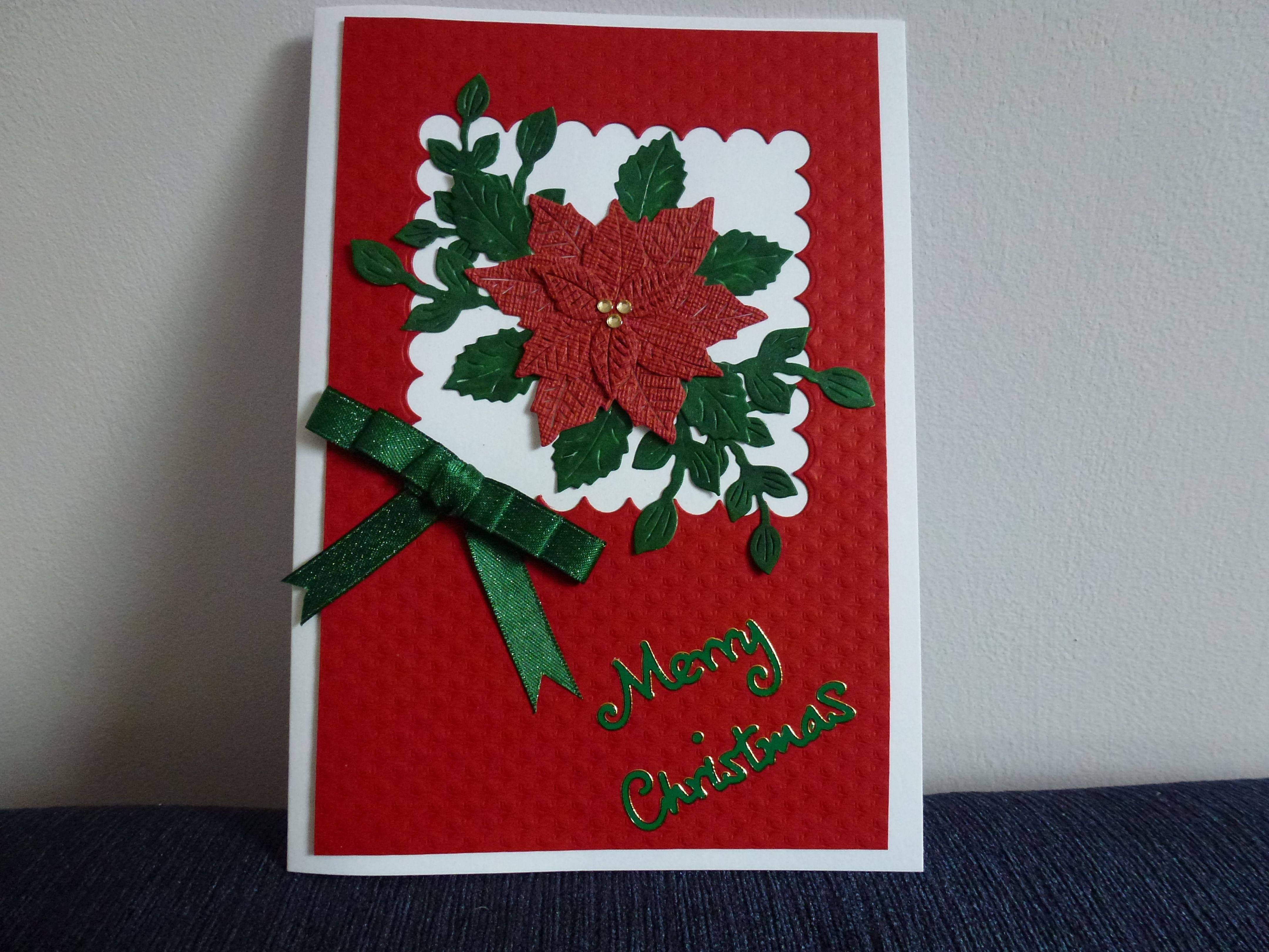 Poinsettia Christmas Card | cards | Pinterest | Poinsettia ...