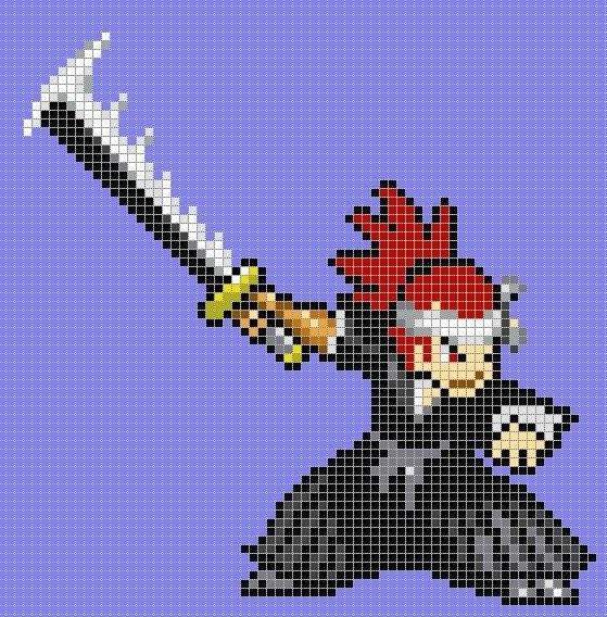 This is some anime characters made in minecraft (pixel art