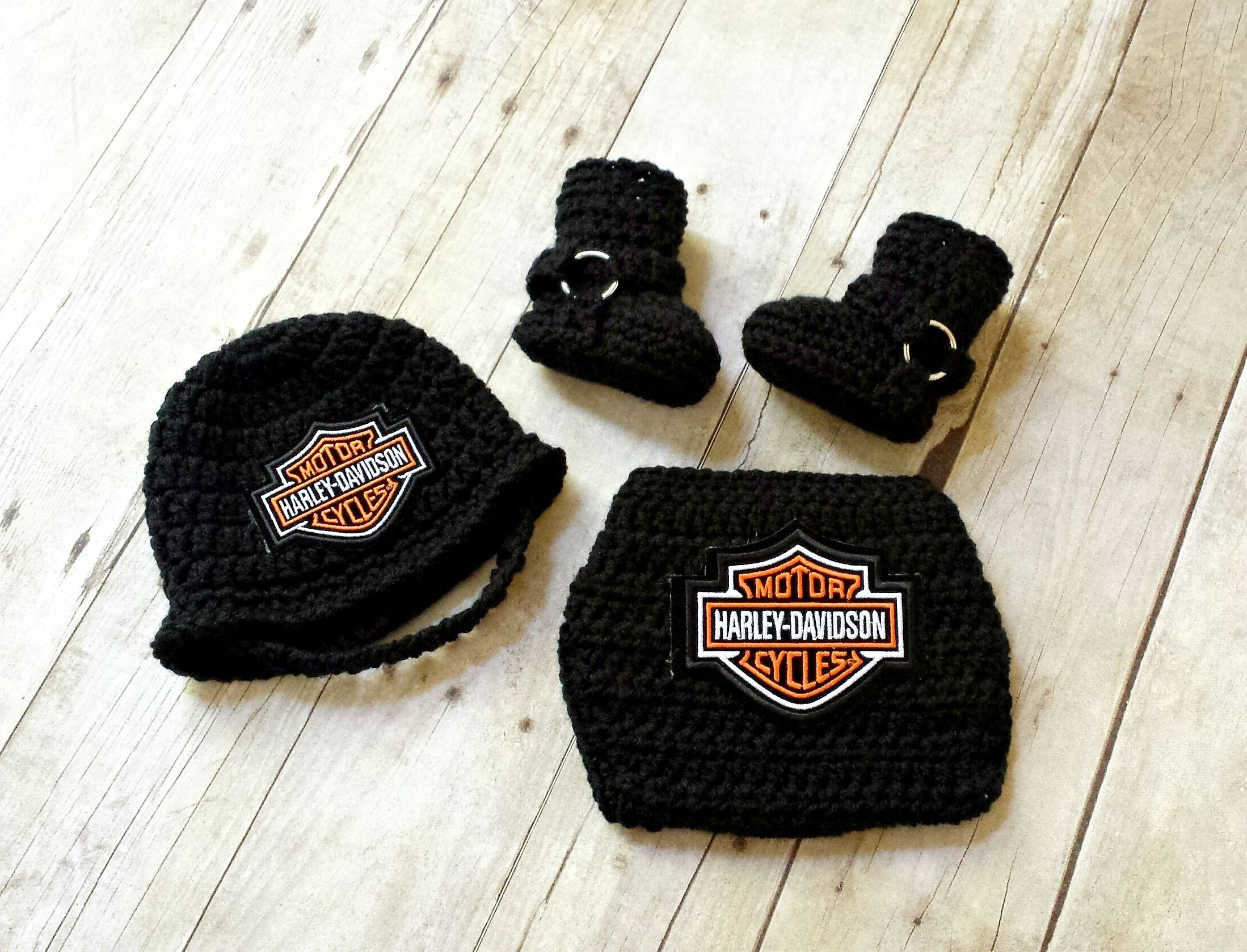 Crochet Baby Harley Motorcycle Helmet, Diaper Cover and Motorcycle ...
