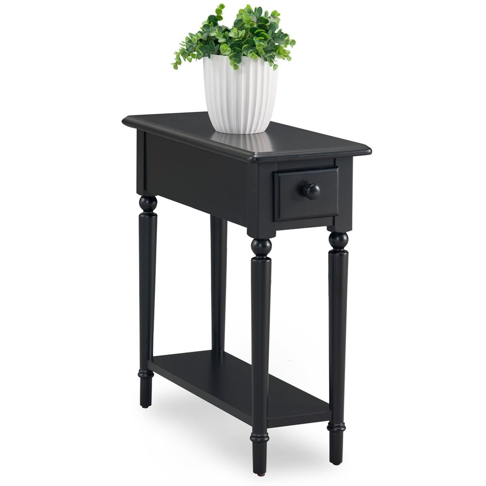 Chair Side Tables With Storage Pads Kitchen Swan Black Coastal Narrow Chairside Table Shelf Livingroom